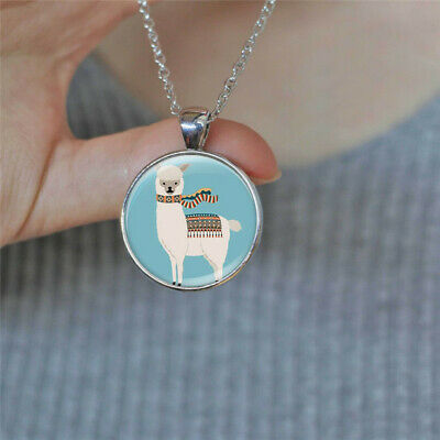 Vintage Cute Llama Photo Cabochon Glass Silver Chain Pendant Necklace Jewelry