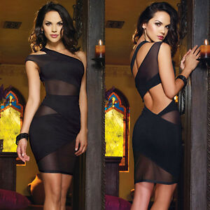 Sexy Black One Shoulder Open Back Mesh Cut Out Cocktail Evening Club Mini Dress
