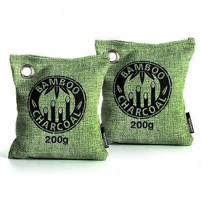 Air Purifying Bag Bamboo Charcoal Bag Air Freshener Odor Deodorizer 2 x 200g