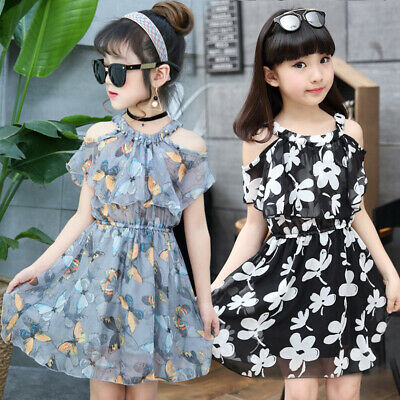 Floral Chiffon Kids Dresses Summer Princess Party Dresses For Girls Clothing (Clothing For Girls)