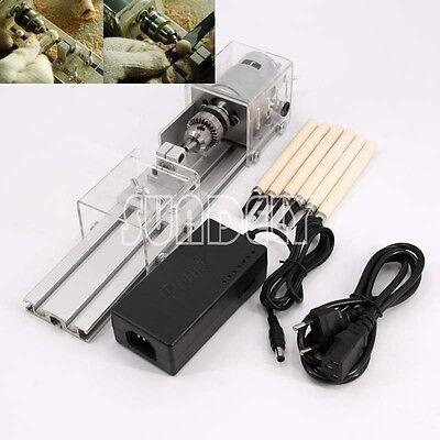UK Mini Lathe Beads Machine Woodworking DIY Lathe Standard Set with Power DC 24V