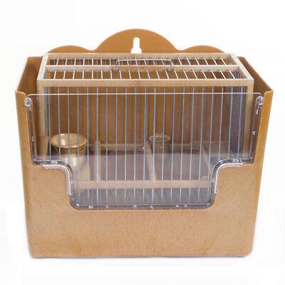Conjunto Jaula Para Pájaros Silvestrismo Jilgueros color madera