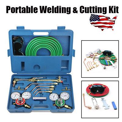 Pro Gas Welding Cutting Welder Kit Oxy Acetylene Oxygen Torch W 15hose