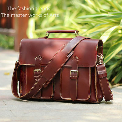 Men's Vintage Genuine Leather Laptop Bag Messenger Briefcase Shoulder Handbag