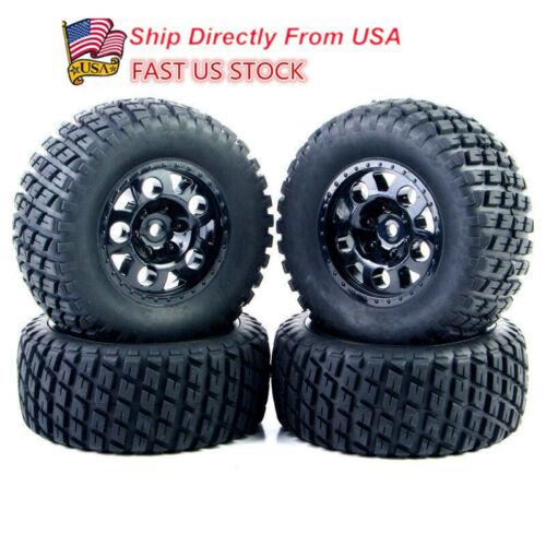 US 4pcs 1:10 Short Course Truck Tires Wheel Rim For RC TRAXXAS SlASH HSP HPI Toy