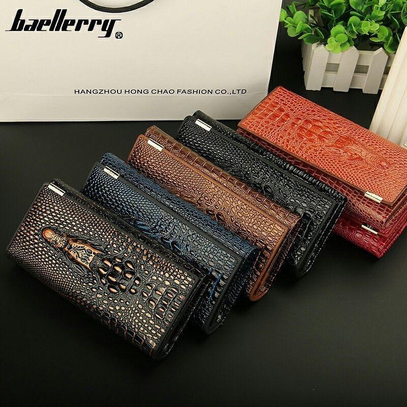 New Crocodile Pattern Genuine Leather Women Clutch Wallet Ha