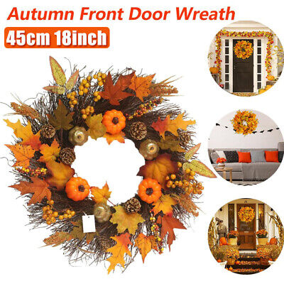Fall Door Pumpkin Wreath Artificial Autumn Maple Leaf Garland Halloween Decor