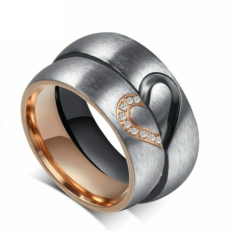 Vonx 1Pair His & Hers Love Heart Wedding Promise Rings Set S