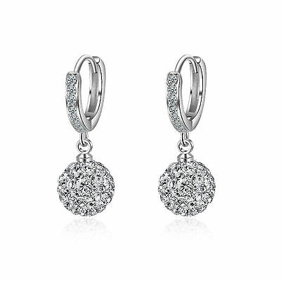 Silver Ball Drop - Woman Fshion Jewelry 925 Silver Plated Drop Dangle Ball Zirconia Hoop Earrings