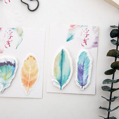 30pcs Beautiful Feather Sticky Notes Paper Memo Pad Scrapbooking Stickers