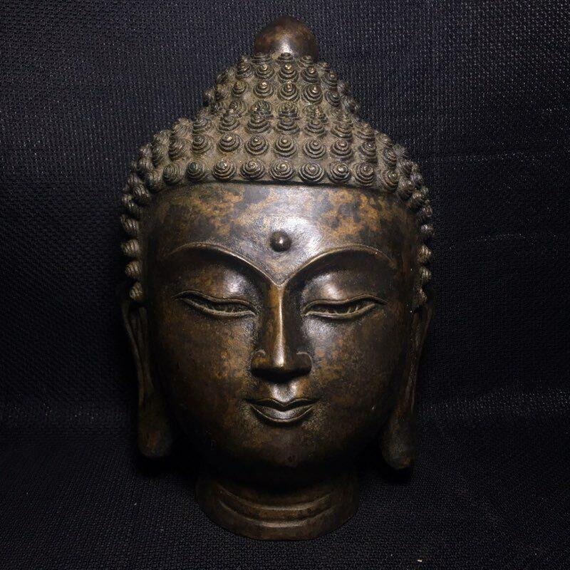 """8"""" Chinese old antique bronze Buddhism Shakya Muni Amitabha Buddha head statue"""