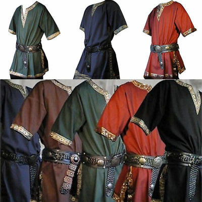 Fashion Medieval Renaissance Viking Saxon Short Sleeve Halloween Cosplay Clothes - Renaissance Medieval Clothing