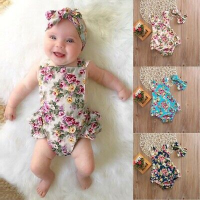 Infant Baby Girl Floral Outfits Jumpsuit Kids Summer Beach Sunsuit+Headband Sets