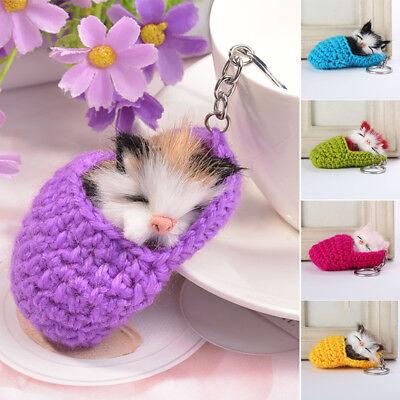 1PC Keyring Accessories Keychain Pendant Sleeping Cat Charm Animal Dangle (Animal Keychains)