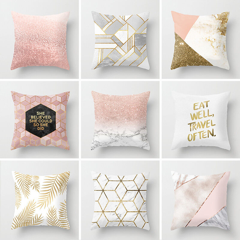 Geometric Printed Throw Pillow Case Polyester Cushion Cover