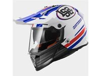 LS2 MX436 Pioneer Quarterback Adventure Helmet (White/Red/Blue)