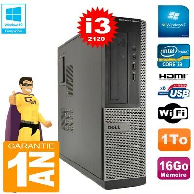 PC DELL 3010 DT Core I3-2120 Ram 16Go Disque 1 To Graveur DVD Wifi W7