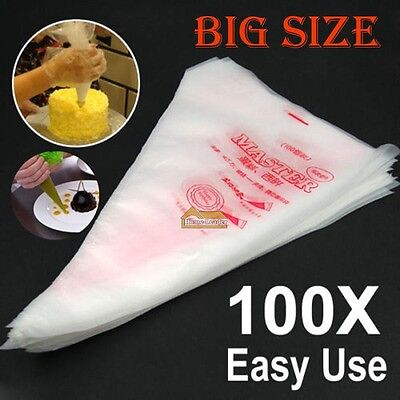 100 Large Pastry Icing Piping Disposable Bag Bags Set Cupcake Baking Tool Decor