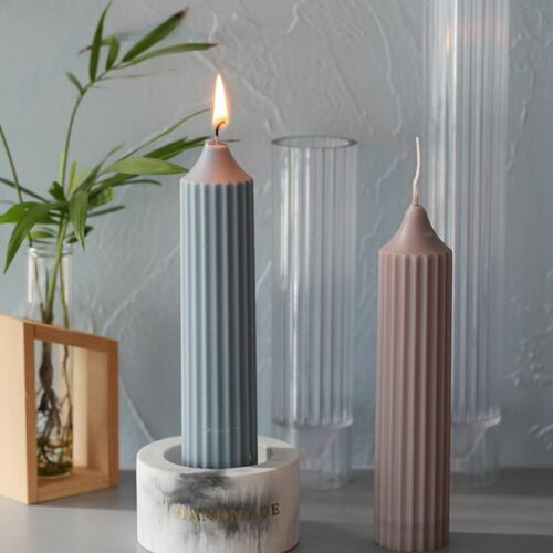 Long Pole Nordic Candle Mold Large Cylinder Rib Plastic Pillar Candle Making Kit