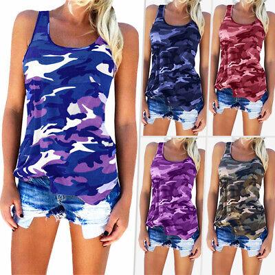 Plus Size Women Casual Army Camo Tank Tops Sleeveless Slim S