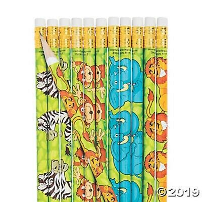 12 Zoo Jungle Safari Animals Pencils Kids Birthday Party Favors School Supplies - Safari Birthday Supplies