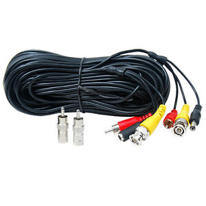 Power Video Audio Surveillance Camera Cable BNC RCA CCTV Home Security 100ft C15