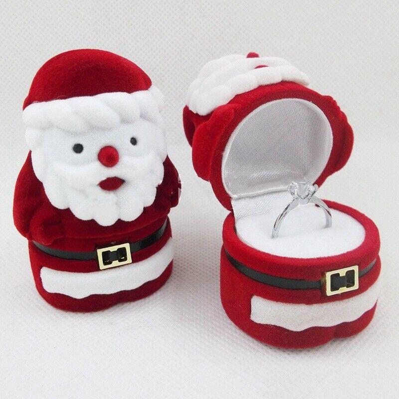 Neue Weihnachten Weihnachtsmann Pentagramm Samten Schmuck Ring Etui Heiße DE