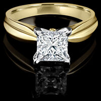 Diamond engagement ring 1.00CT Bague de fiançailles 14k or jaune