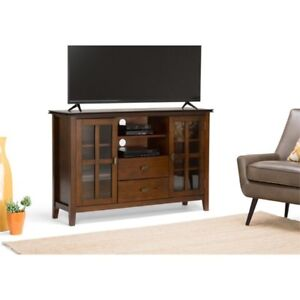 Simpli Home Axchol005 Artisan Solid Wood Tall Tv Media Stand In