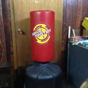 Free standing training bag and boxing gloves