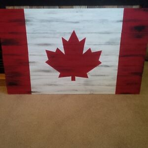 Handcrafted painted/wooden Canadian Flag
