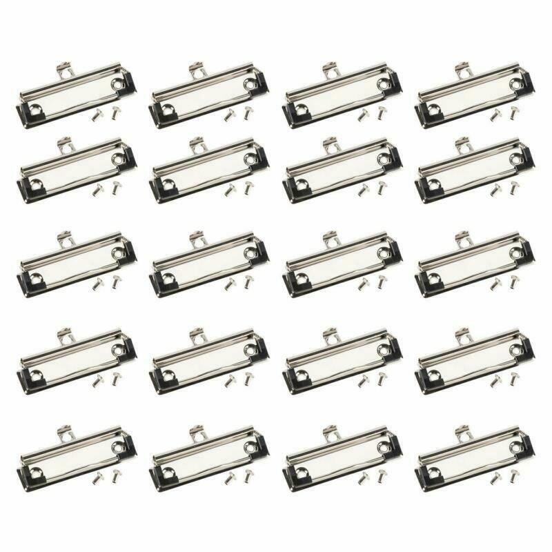 Clipboard Clips- 20-Pack Mountable Clips, Metal Hardboard Clips with Rubber Feet