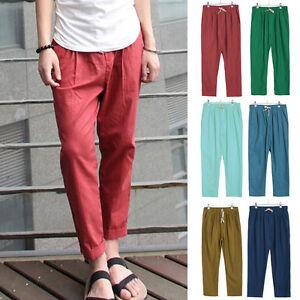 Hombre-Playa-Pantalones-Pantalon-largo-de-Chandal-Algodon-Lino-Holgado-Verano