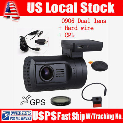 Mini 0906 HD 1080P Dual Lens Car Dash Camera GPS DVR Recorder +Hard Wire+CPL WDR