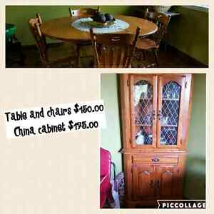 Table 4 chairs SOLDand china cabinet still available