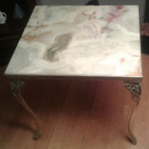 Vintage (1940's) onyx & brass end table / cabriole legs