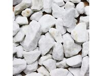 20mm White Marble Chip, £105 Per Bulk Bag or £4.74 per 25kg bag.
