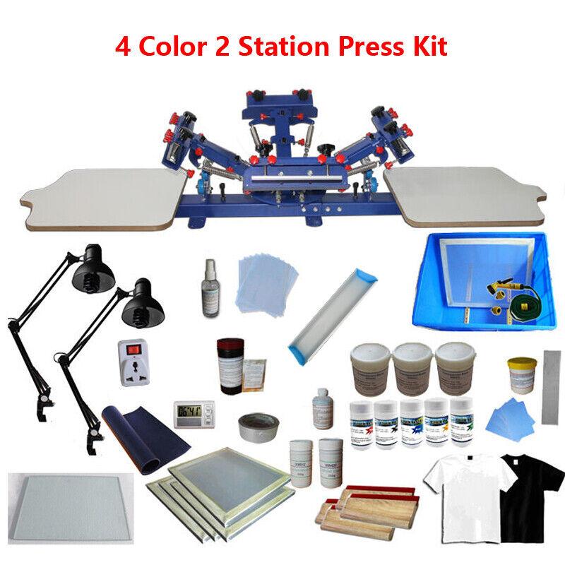 4 Color 2 Station Screen Printing Kit Micro-registration Press & Exposure Unit