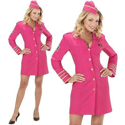 2tlg Damen Kostüm STEWARDESS Kleid Pink Flugbegleitung - Stewardess Kostüm