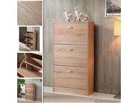 3 Drawers Shoe Storage Cabinet Cupboard Wooden Furniture Footwear Stand Rack