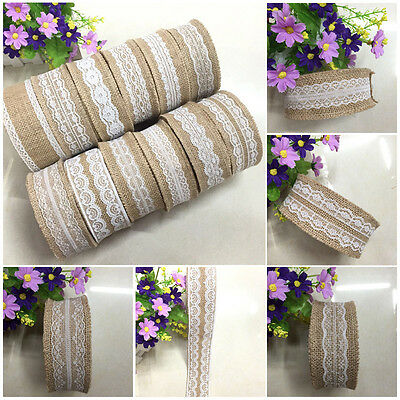 1Roll Vintage Lace Edged Hessian Fabric Burlap Ribbon Rustic Wedding Party Decor