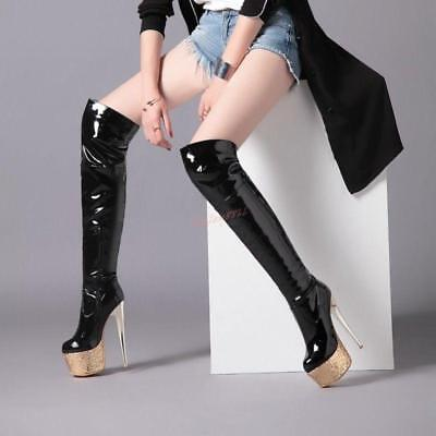 Glitter Thigh High Platform Boots - Lady Chic Bling Glitter Platform Over Knee Thigh Boot High Heel Shoes Clubwear