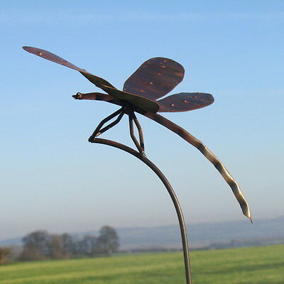 Handcrafted metal,  large dragonfly garden stake  ornament  sculpture statue art