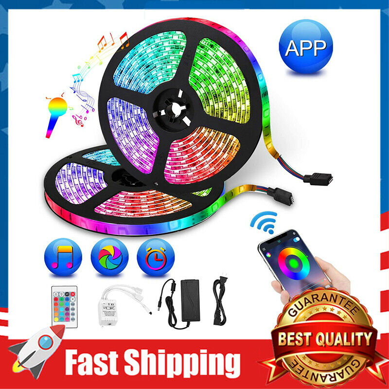 32.8ft Strip Lights 300 LEDs RGB Color Changing Bluetooth Co
