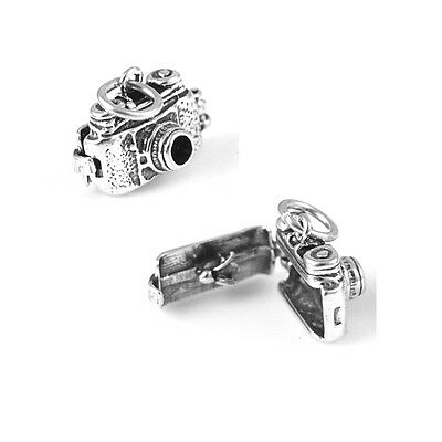 Sterling Silver Old Fashioned Camera Charm Moveable Opens w/bird inside Item 110