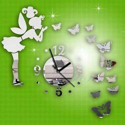 Modern Butterfly Fairy Wall Clock Watch Mirror Wall Sticker Home Decoration