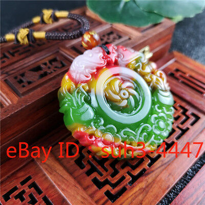 Jade Lucky Flower (Color Jade Flower Pendant Necklace Fashion Charm Jewelry Lucky Chinese Amulet )