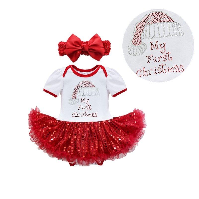 c4f794c84c5c Details about Newborn Baby Girl Christmas Xmas Tutu Dress Romper Santa Hat  Printed Outfit