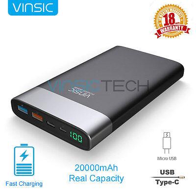 Vinsic 20000mAh QC 3.0 Speedy Charger USB-C Power Bank External Portable Battery