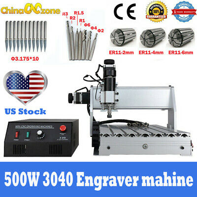 Mini Cnc 3040 3-axis Router 500w Engraving Cuttingmilling Machine 110v Us Stock